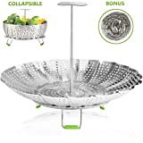 """Vegetable Steamer Basket Stainless Steel Steamer Insert for Steaming Veggie Food Seafood Cooking, Metal Handle and Foldable Legs, Collapsible to Fit Various Pot Pressure Cooker, 5.3"""" Extends to 9.5"""""""
