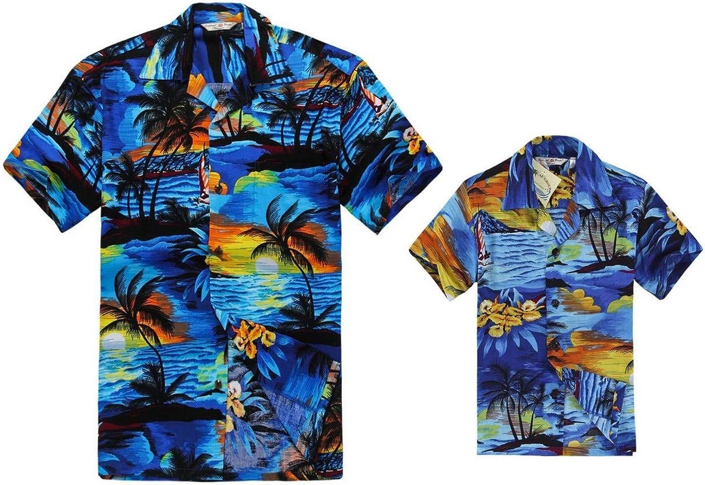 Juego Hawaiano Traje de Luau Camisa de Hombre Camisa de niño en Puesta de Sol Azul Hombre S Chico 10: Amazon.es: Ropa y accesorios