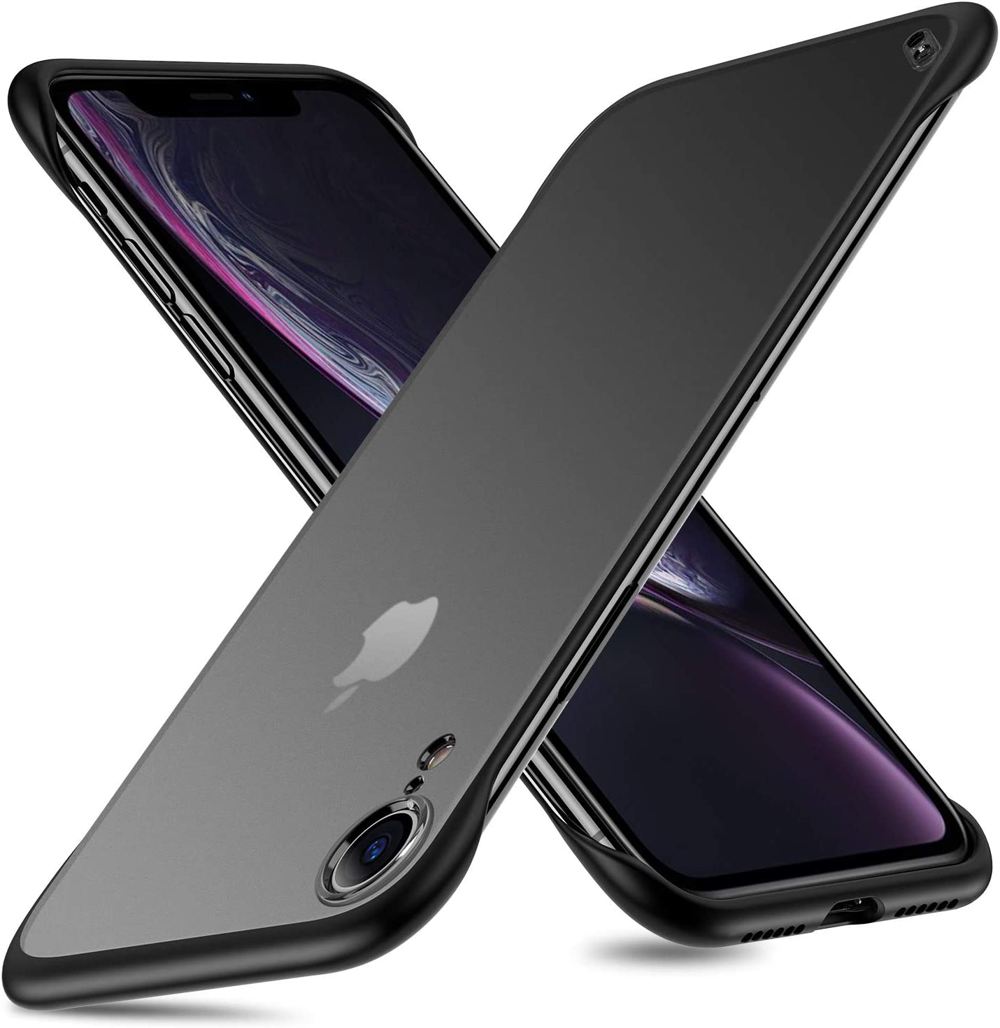 MSVII Slim Case for iPhone XR, Frameless iPhone XR Cases Translucent Matte Texture Hard PC Back Panel TPU Shockproof Bumper Corners Protective for iPhone XR 6.1 Inch Black