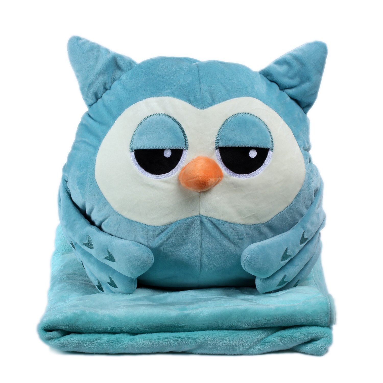 Alpacasso 3 In 1 Cute Cartoon Plush Stuffed Animal Toys Throw Pillow Blanket Set with Hand Warmer Design. (Blue Owl) by Alpacasso (Image #1)