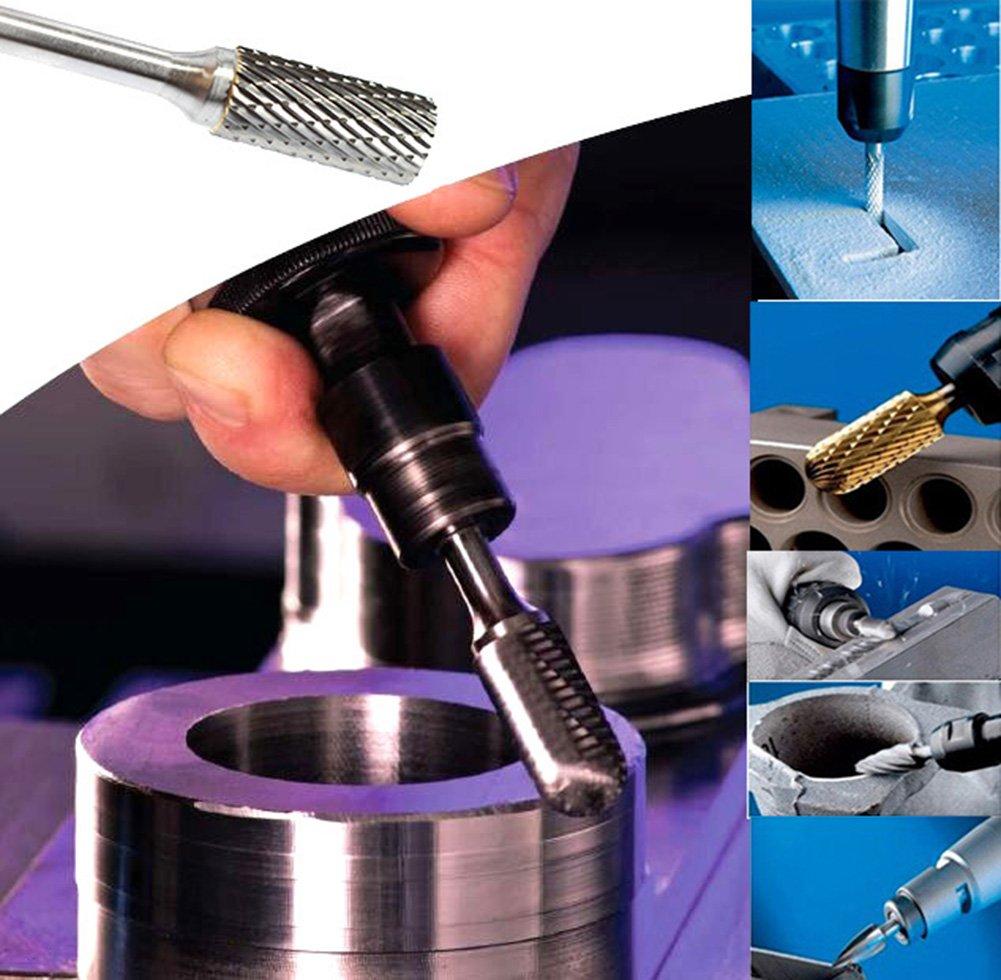 KOTVTM 5Pcs 10MM Head Tungsten Carbide Rotary Burr Set 1//4-Inch Shank Carbide Burrs For Die Grinder Cutting Burs Grinder Drill Metal Polishing