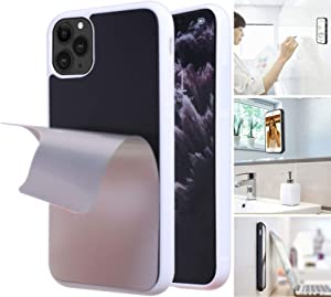 Anti Gravity Phone Case with Dust Proof Film, Magic Nano Sticky Suction Stick to Gym Mirror Wall, Selfie Case for iPhone 11 Pro (White)