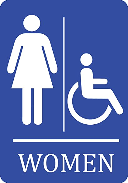 Handicap Bathroom Sign. Women Handicap Accessible Bathroom Blue Sign   Woman  Restroom 12x18 Signs Plastic