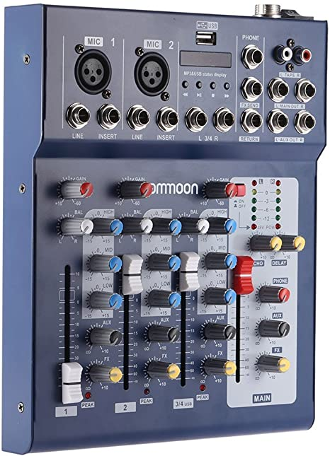 Ammoon mesa F4-USB 3 canales micro línea digital mezclador, mesa ...