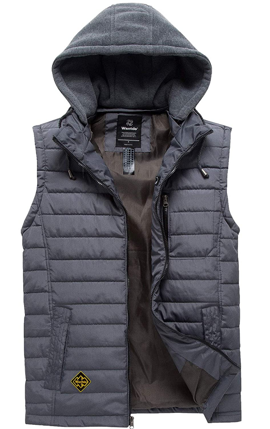 Wantdo Mens Puffer Vest Warm Sleeveless Winter Jacket with Removable Hood