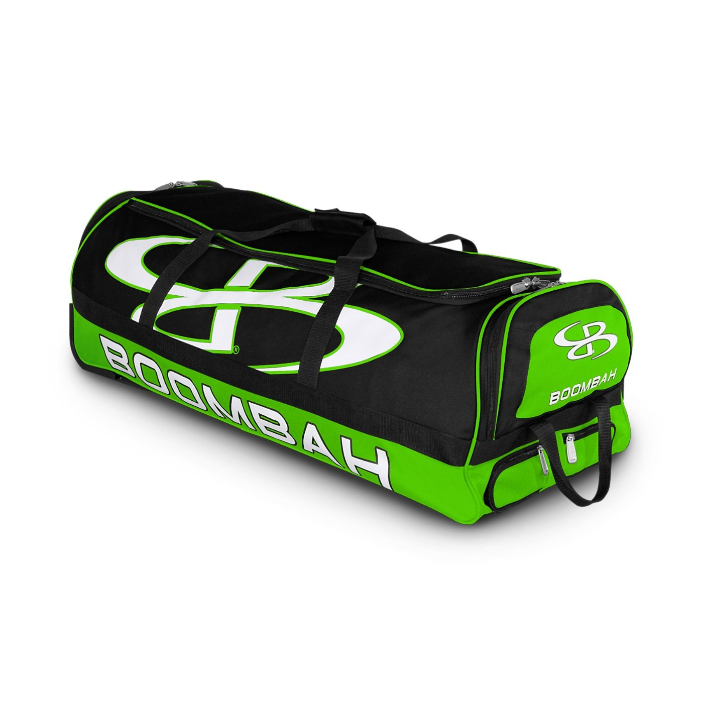 Boombah Brute Rolling Baseball / Softball Bat Bag - 35'' x 15'' x 12-1/2'' - Black/Lime Green - Holds 4 Bats and Room for Gear - Wheeled Bag