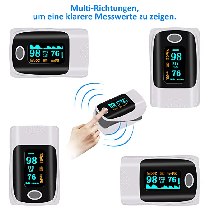 OLED Fingeroximeter Sauerstoffs/ättigung Messger/ät Messen Finger mit Alarm und Auto-Off-Funktion Tragbares Oximeter f/ür SpO2 und Herzfrequenz UBRU Pulsoximeter