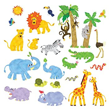 Decowall DS-8013 Animaux Jungle Autocollants Muraux Mural Stickers ...