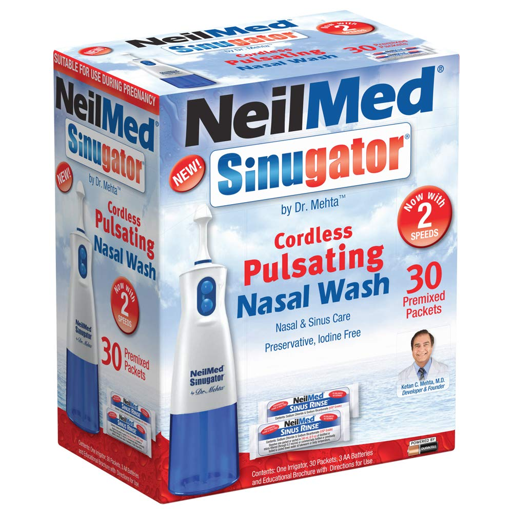 NeilMed Sinugator Cordless Pulsating Nasal Wash Kit with One Irrigator, 30 Premixed Packets and 3 AA Batteries by NeilMed