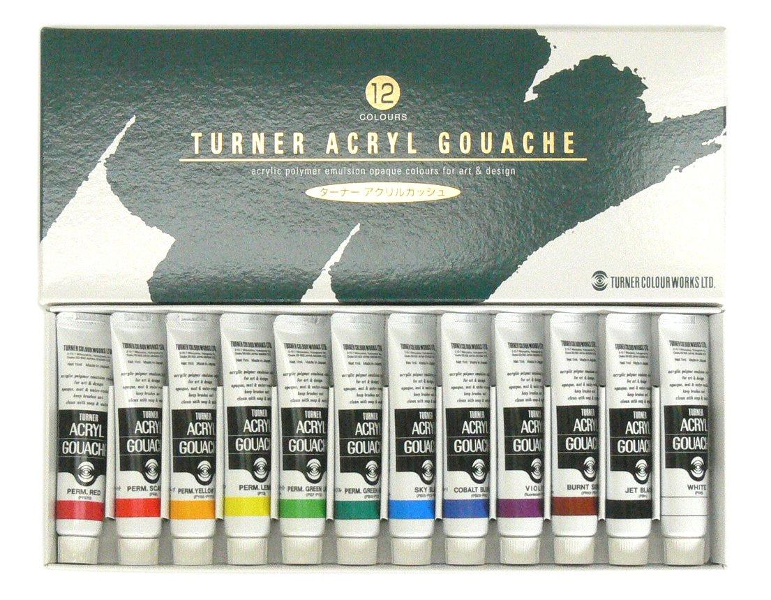 ターナー色彩 アクリルガッシュ 12色スクールセット AG12C 11ml
