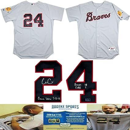 ced72fa0e9f Evan Gattis Autographed Signed Game Worn Atlanta Braves Road Throwback  Chief Noc-a-