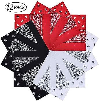 Roseseedlove 12Pcs Bandanas Paisley Print Cowboy Headband Scarfs Headwraps, Handkerchiefs for Men and Women