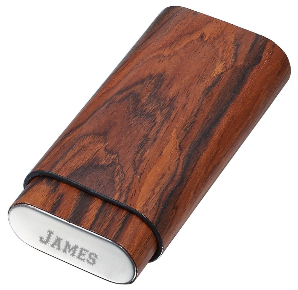 Personalized Visol Bruce Natural Wood Cigar Case - 3 Cigars with free engraving