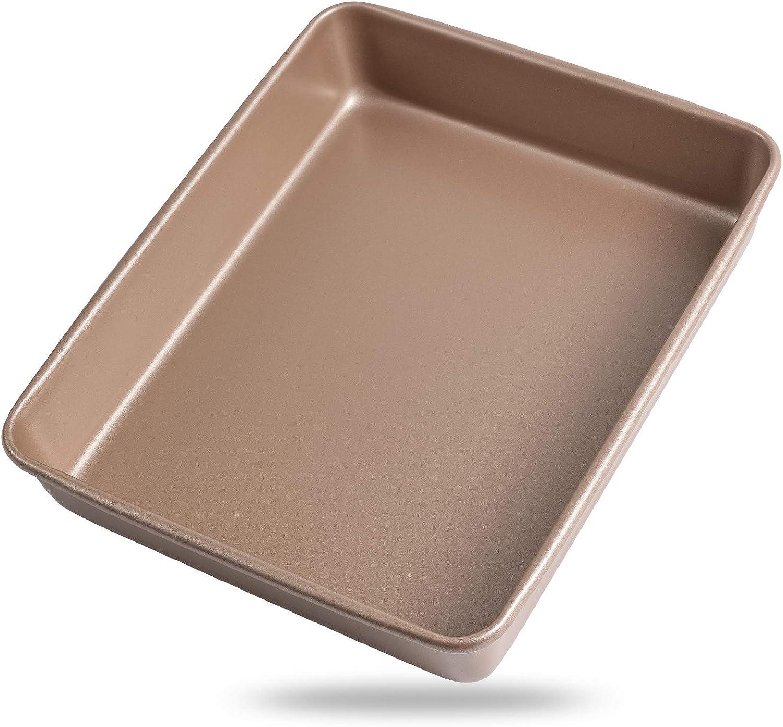 Zoymensu Bakeware 11×9 Inch Nonstick Sheet Baking Carbon Steel PTFE Coating Deep Bakeware Rectangular Baking Pan Pizza Pan Toaster Oven Pan Champagne Gold