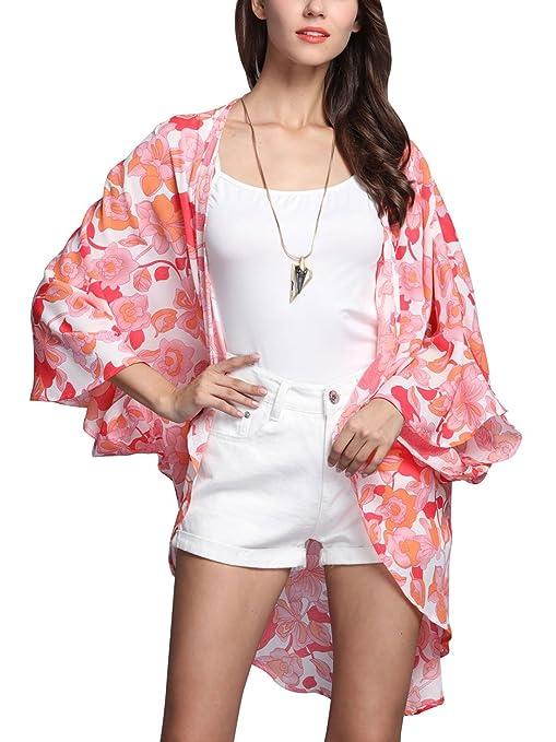 Aivtalk - Mujeres Chaqueta Blusa Blusón Rebeca Estampada Floral de Gasa Kimono Casual Top verano para Playa Vacaciones: Amazon.es: Ropa y accesorios