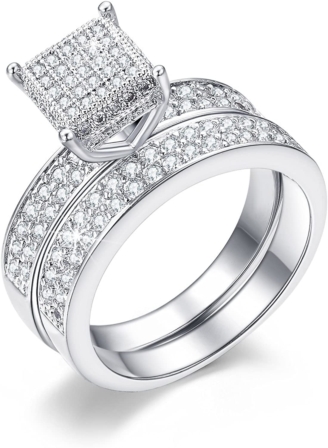 Zirconia CZ White Gold Plated Princess Wedding Ring Valentines Gift