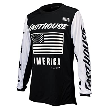 55b9a03fa Amazon.com  Fasthouse American Air Cooled Men s Motocross Motorcycle Jersey  Black Small  Clothing