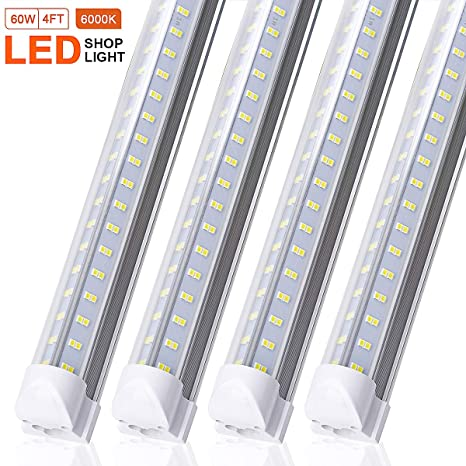 4ft Led Shop Light >> 4ft Led Shop Light Fixture Ftubet 60w 6500lm 6000k Super Bright White Clear Cover T8 Integrated Led Tube Light Fixtures For Garage Warehouse V Shape
