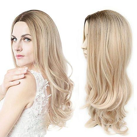 Peluca para mujer - Rubia sintética Peluca larga de pelo rizado Color de degradado Marrón claro