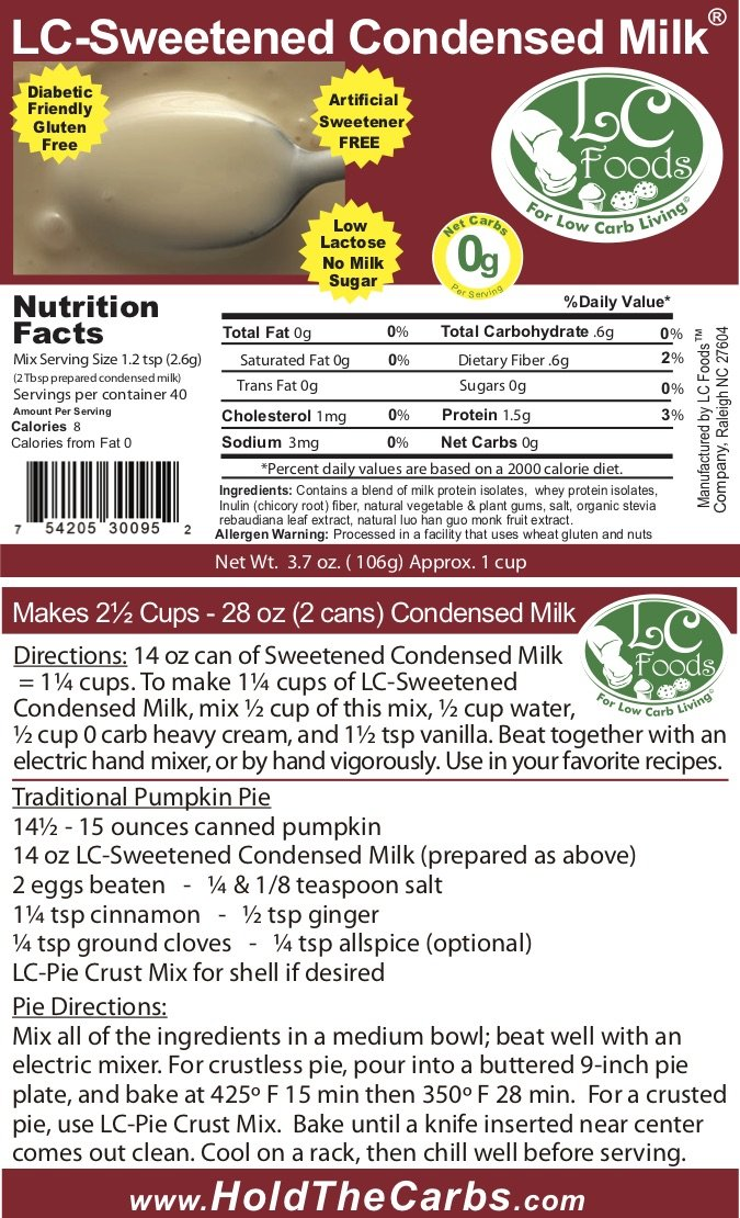 Low Carb Condensed Milk Mix (Sweetened) - LC Foods - All Natural - High Protein - Low Lactose - High Calcium - No Sugar - Diabetic Friendly - Low Carb Milk - 3.7 oz