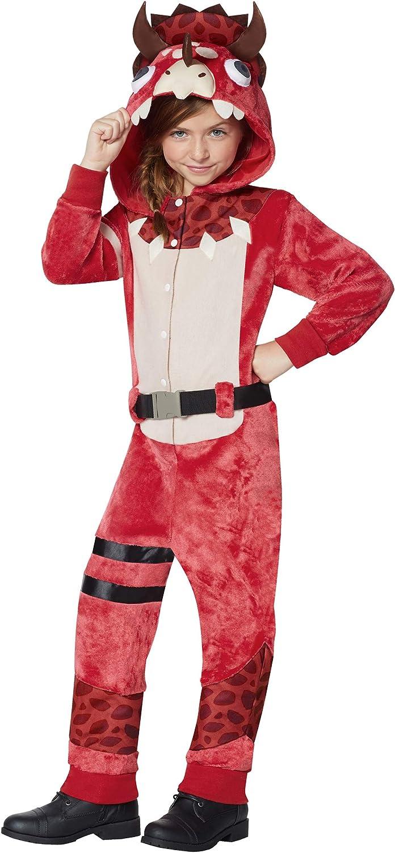 Amazon Com Kids Fortnite Plush Tricera Ops Costume L Xl Red Clothing