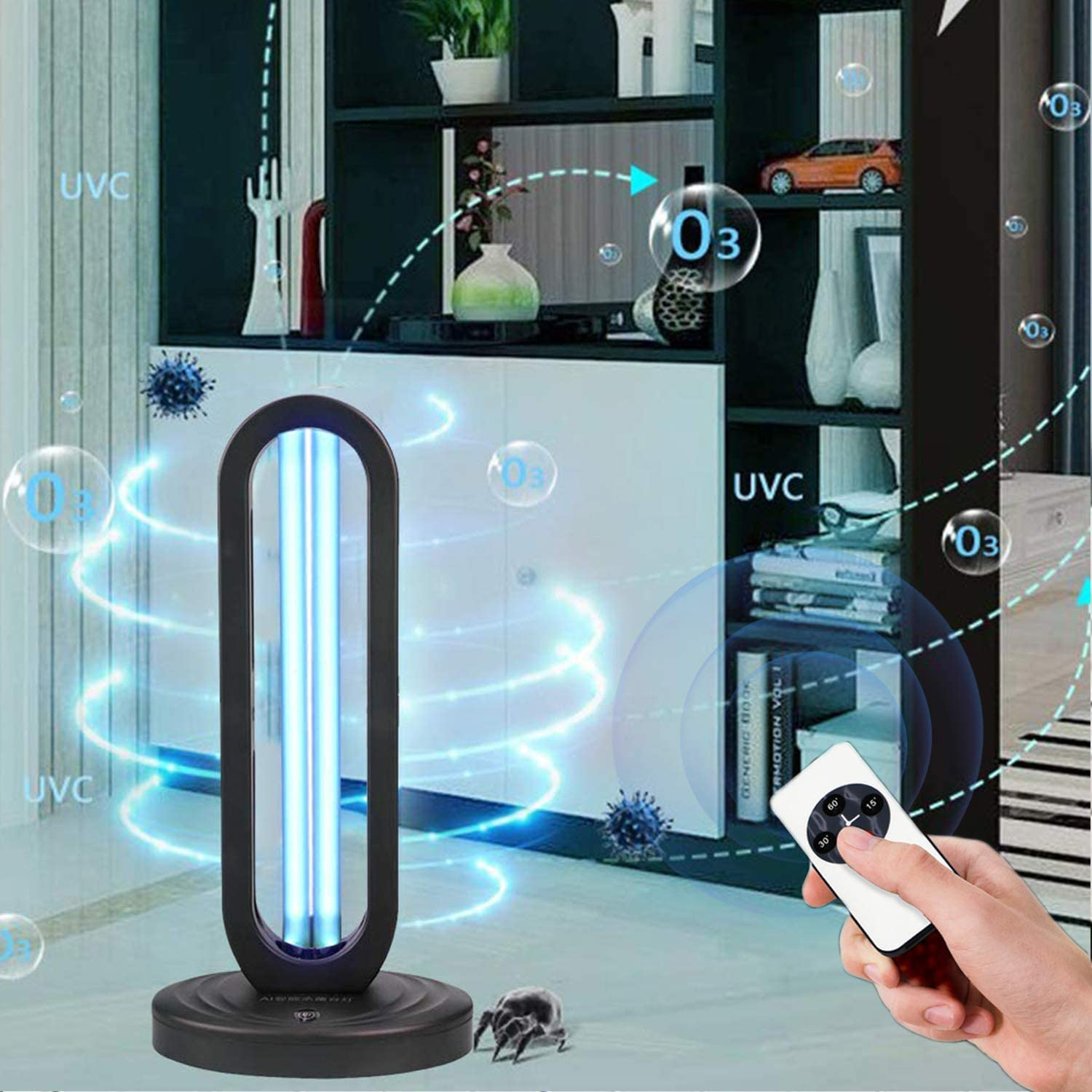 Room UVC Cleaner for Home Wireless Remote Control | Office Hotel UV Germicidal Lamp 38W Disinfection Lamp with Ozone Sterilization School UV Light Sanitizer /& Ultraviolet Sterilizer Lamp