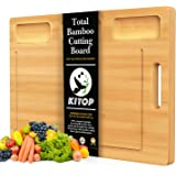Bamboo Cutting Board for kitchen, Serving Tray with 3 Built-in Compartments And Deep Juice Grooves, Chopping Board Extra…