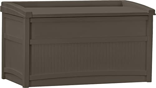 Suncast 50-Gallon Medium Deck Box – Lightweight Resin Indoor Outdoor Storage Container and Seat for Patio Cushions and Gardening Tools – Store Items on Patio, Garage, Yard – Java