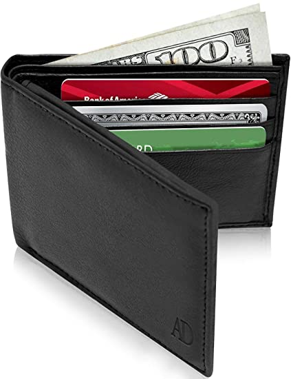 346a1692814e Slim Leather Bifold Wallets For Men - Minimalist Mens Wallet RFID Blocking  Card Holder With ID Window Box Gifts For Men