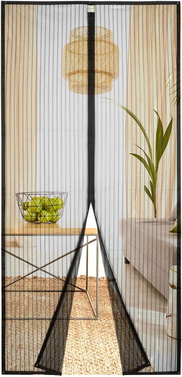 Homitt Mosquitera magnética para puerta, Mosquitera Puerta 90x210cm, con cortina de malla resistente con 26 imanes, parte superior reforzada antidesgarro, gancho y bucle de marco completo