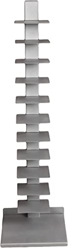 Southern Enterprises Spine Book Tower – Metal Floor Shelves, Silver