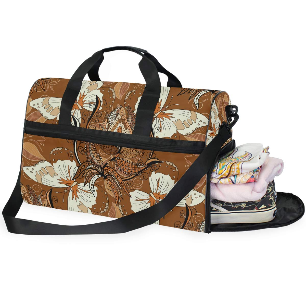 Vacation Gym Travel Duffel Bag Butterfly And Floral Waterproof Lightweight Luggage bag for Sports