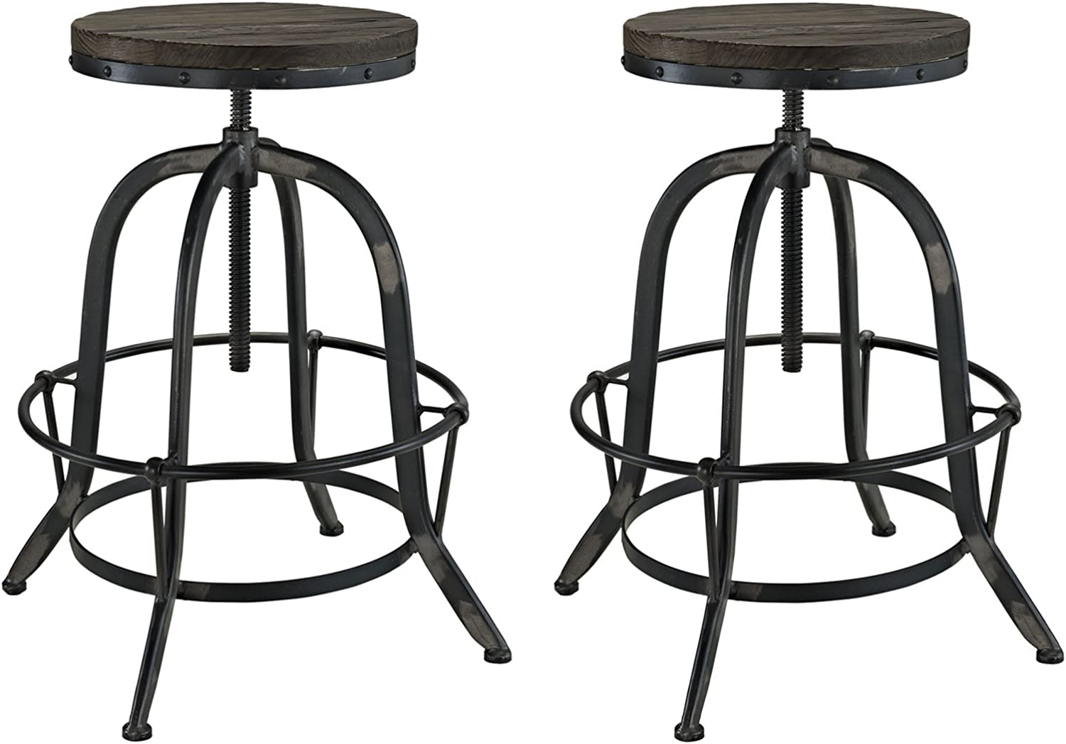 Modway Collect Industrial Modern Rustic Farmhouse Pine Wood and Cast Iron Two Backless Bar Stools in Black