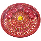 GoldGiftIdeas Hand Painted Arti Pooja Thali Set - Pack of 1 PC ( 10 Inch ), Pooja Decoratives