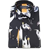 LS75011 Guide London Blue Butterfly Print on Pure Cotton Shirt