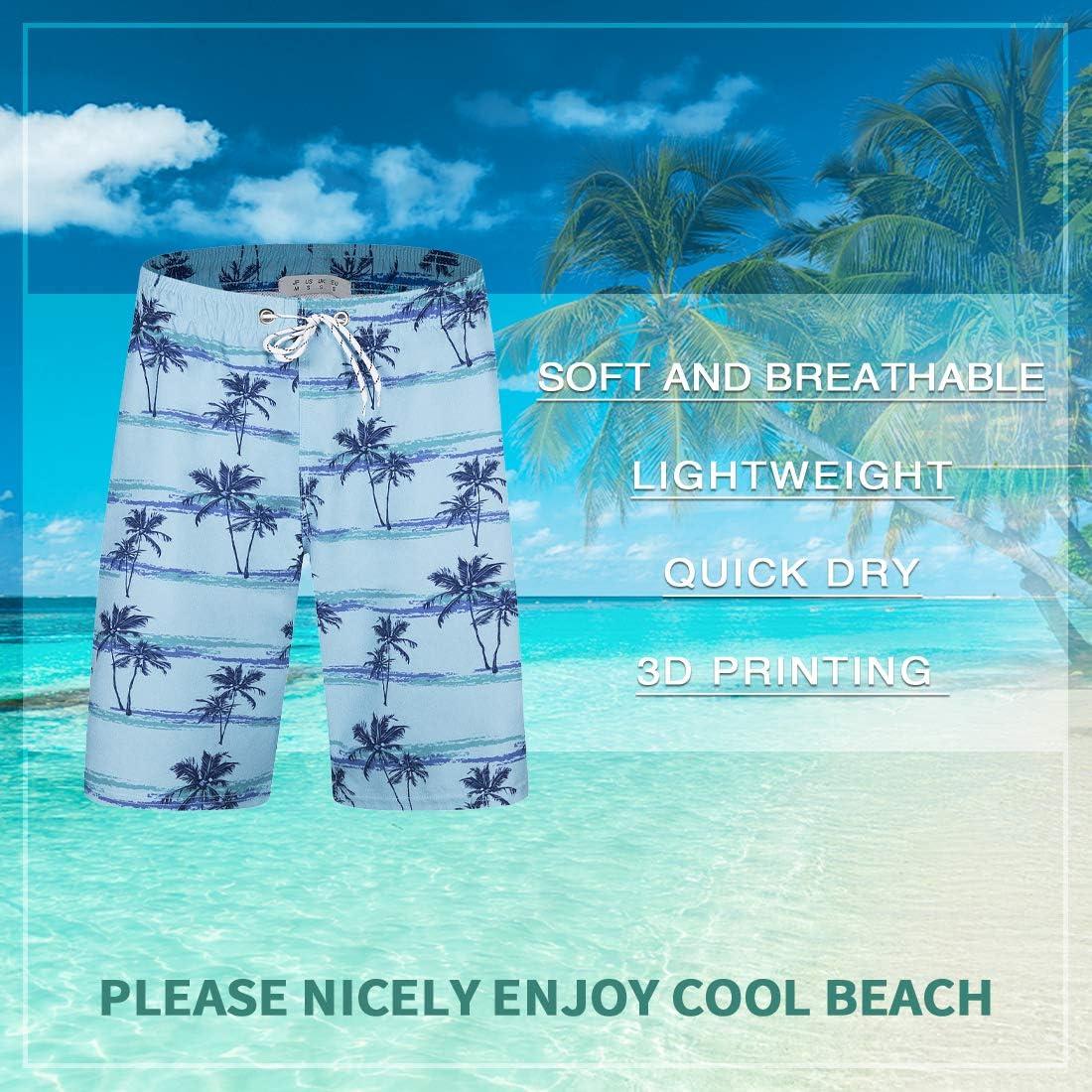 iCKER Mens Swim Shorts Swimming Trunks 3D Print Beach Shorts Boardshorts for Summer Blue(a01)-2