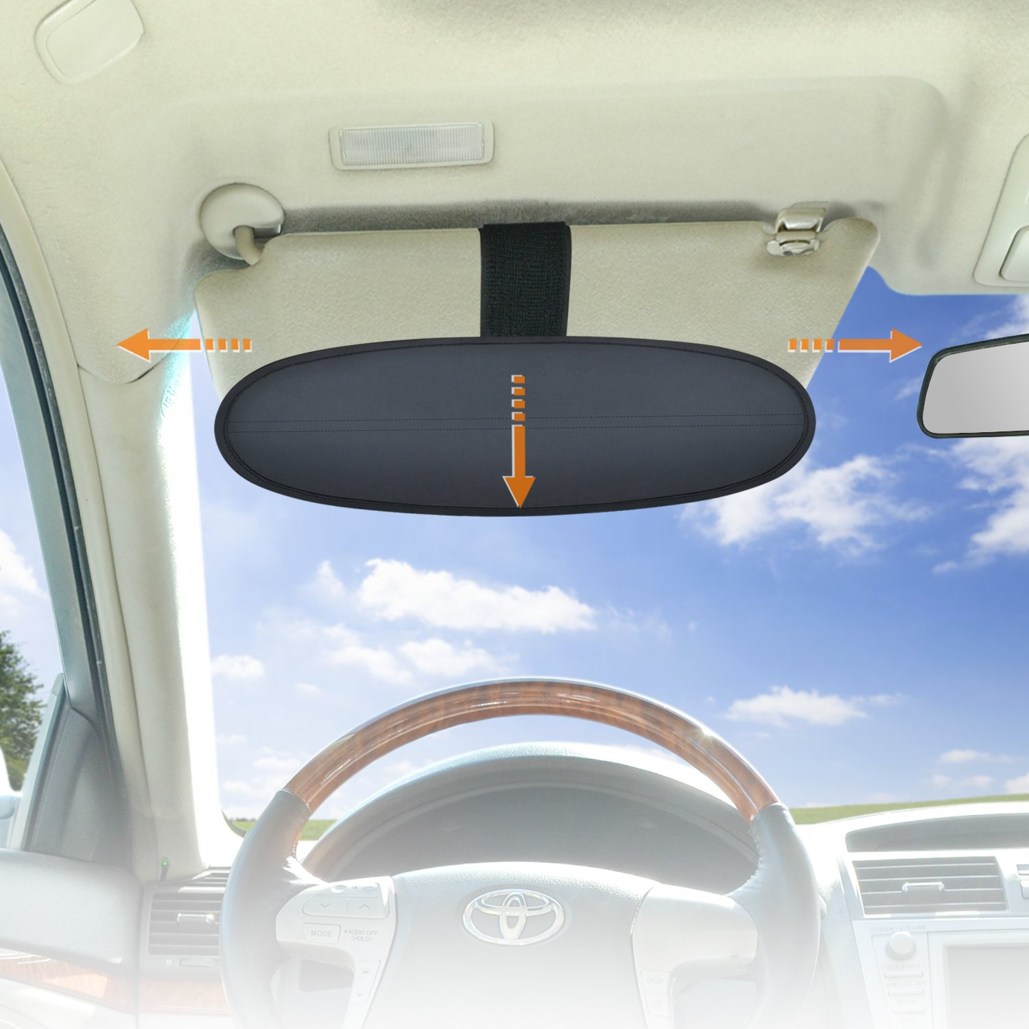 WANPOOL Anti-Glare Car Visor Sunshade Extender for Drivers or Front Seat Passengers, 1 Piece (Silver)