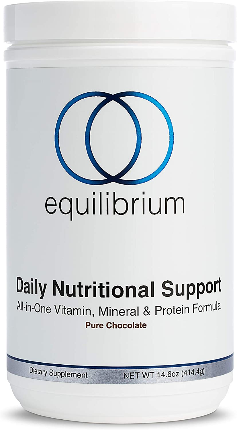 Daily Nutritional Support | All in One Vegan Protein Powder | Multivitamin Powder, Minerals & Immunity Support | Organic Meal Replacement Shake | Dairy Free, Chocolate | Equilibrium Nutrition