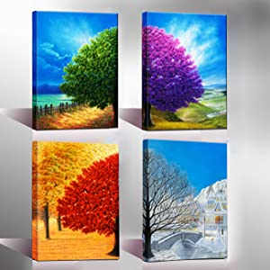 Wieco Art Four Change Seasons Trees Canvas Prints Wall Art by Oil Paintings Style Pictures for Living Room Bedroom Home Decorations 4 Piece Modern Gallery Wrapped Contemporary Colorful Giclee Artwork