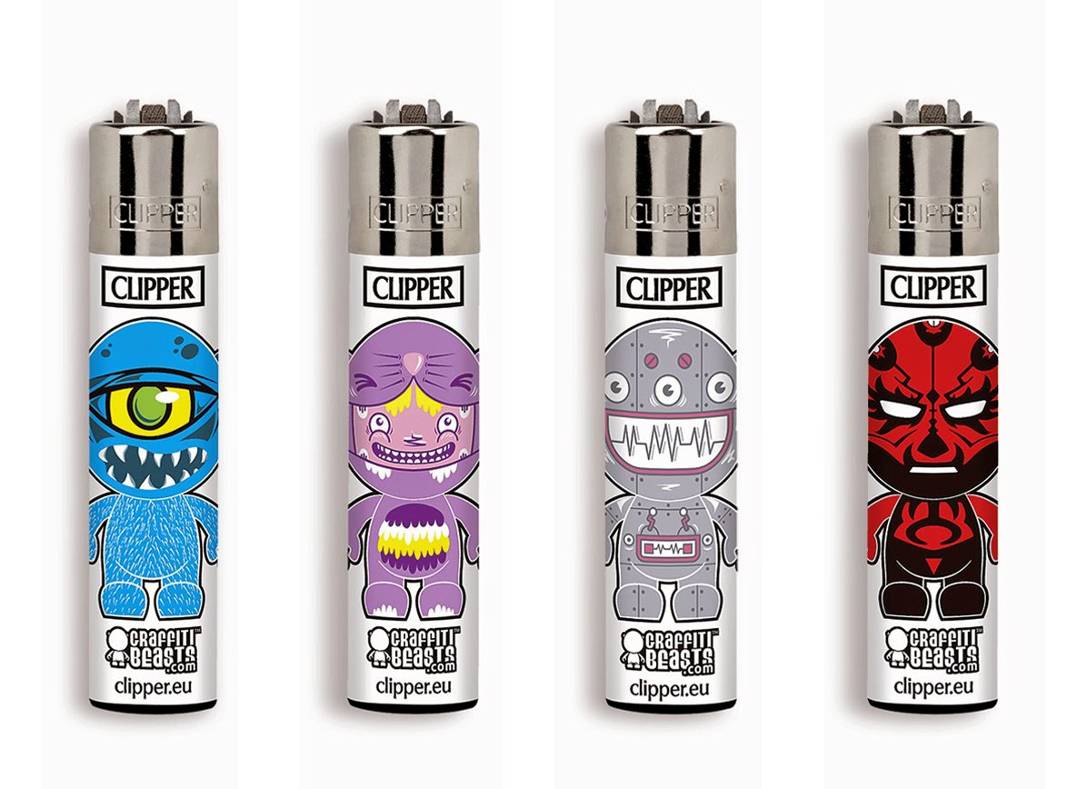 Clipper No 01, Animal Beast, Pack of 4 Lighters (NEW 2018) FLAMAGAS