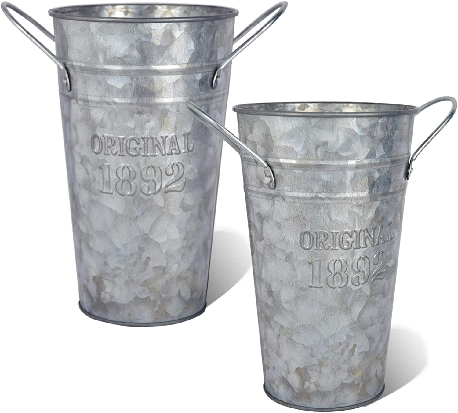 LESEN 8 Inch Rustic Galvanized Metal Flower Vase - Set of 2 - French Bucket - Farmhouse Decorative Vases for Fresh Flowers and Dried Floral Arrangements Home Decor