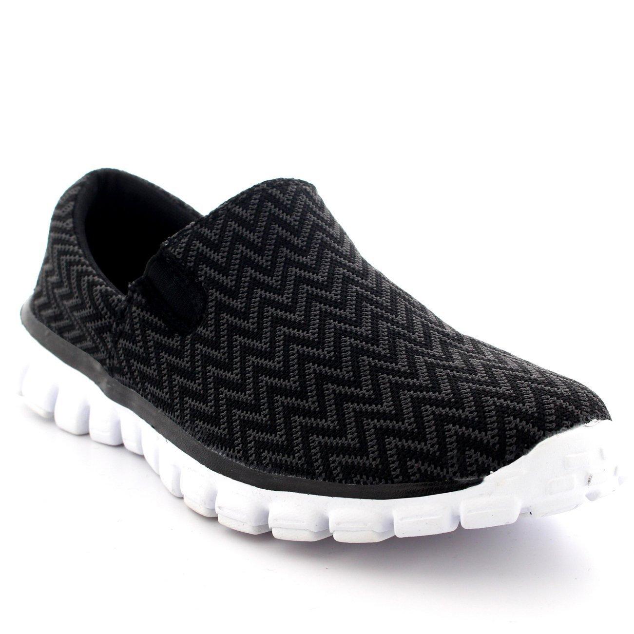 Mens Training Sports Gym Slip On Shoes Walking Office Running Sneakers B01BI4W9NC 10 D(M) US|Black/White