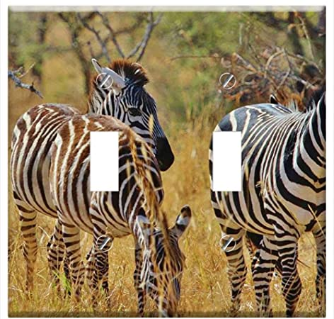 ZEBRA WITH AFRICA MAP HOME WALL DECOR GFI OUTLET ROCKER LIGHT SWITCH PLATE