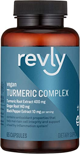 Amazon Brand – Revly Vegan Turmeric Complex with Ginger and Black Pepper – Joint Immune System, Health Inflammation Response – 65 Capsules 2 Month Supply