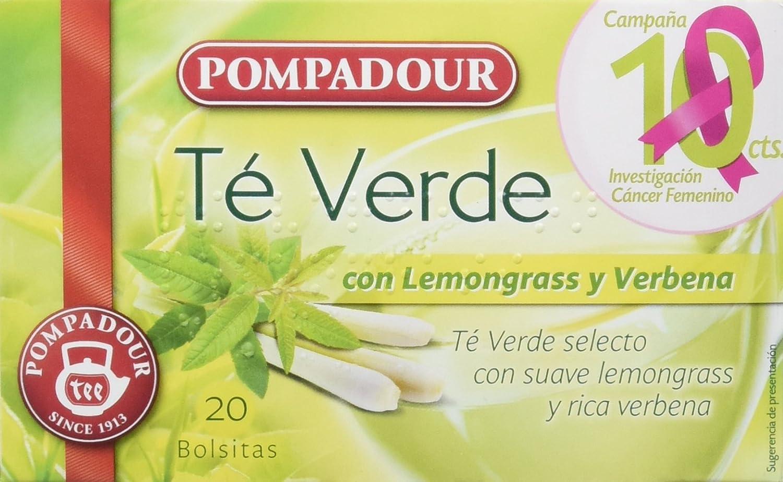 Pompadour Té Verde con Lemongrass y Verbena - 20 Bolsitas: Amazon.es: Amazon Pantry