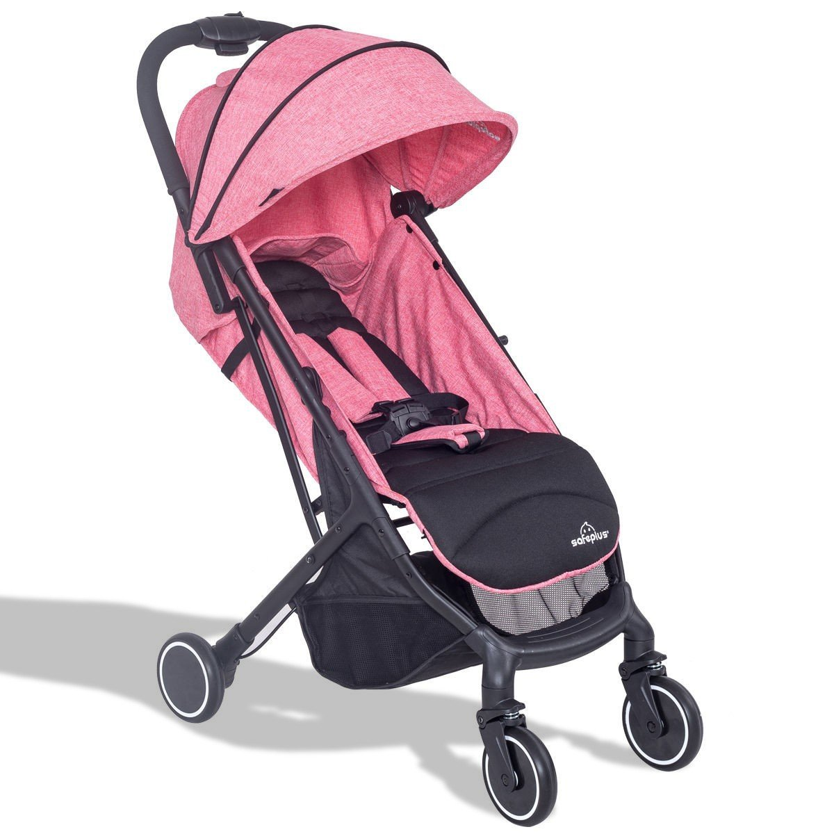 MD Group Baby Stroller Travel Foldable Lightweight Steel Frame & 300D Fabric Pink Color
