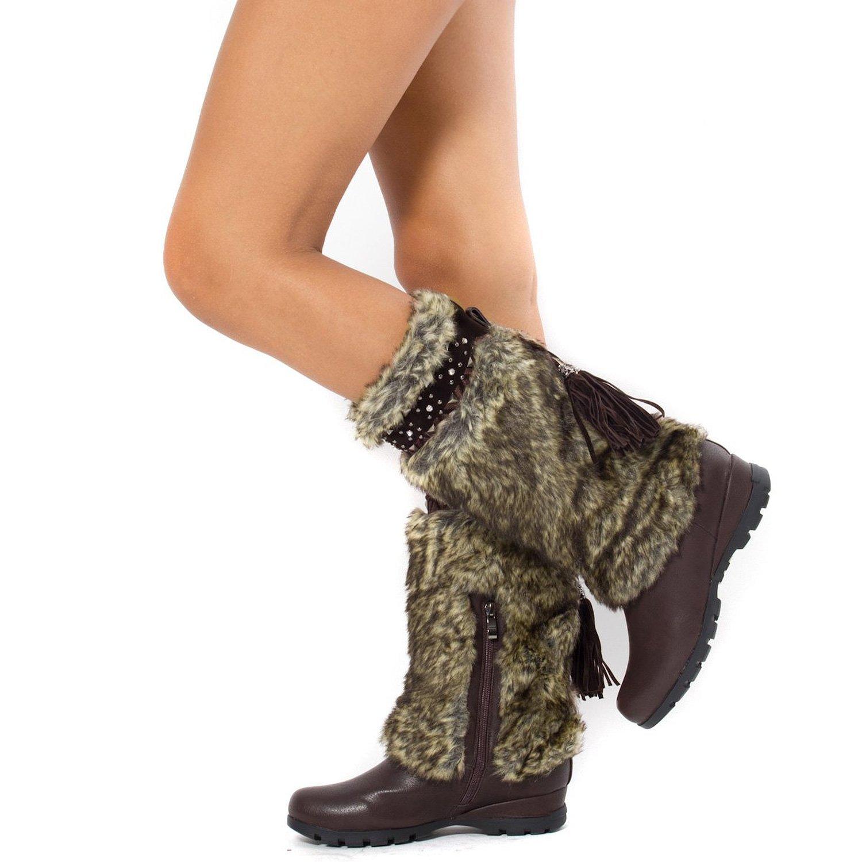 Brown Vegan Fur Rivet Studded Flat Outdoor Boots