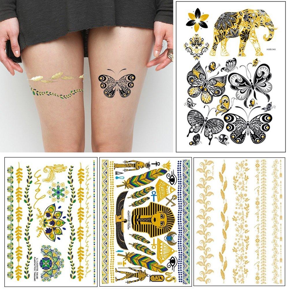 Metálicos Tatuajes Temporales Dorado Impermeable Pegatinas Tatuaje ...