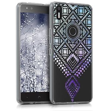 kwmobile Funda para bq Aquaris X5 Plus - Carcasa de [TPU] para móvil y diseño Azteca en [Azul/Violeta/Transparente]