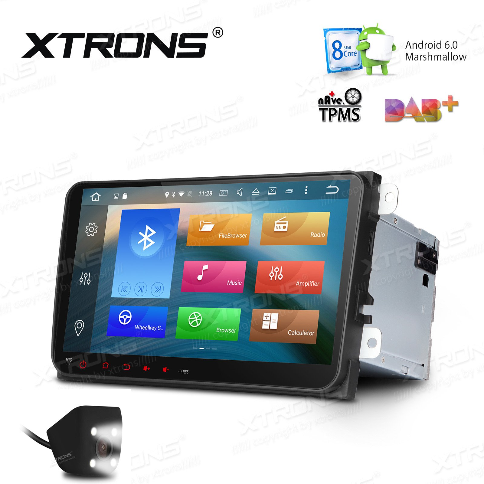 XTRONS Android 6.0 Octa-Core 9 Inch Capacitive Touch Screen Car Stereo Radio DVD Player Screen Mirroring Function OBD2 Tire Pressure Monitoring for VW Caddy Golf 2003-2013 Reversing Camera Included